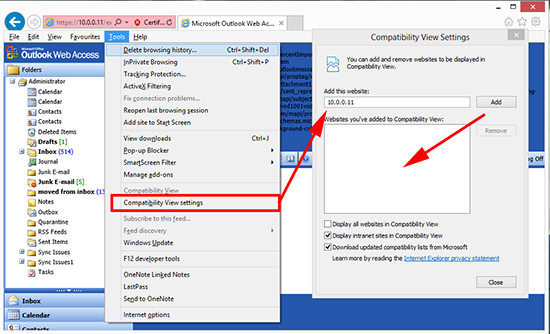 IE10 compatibility view settings