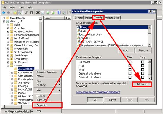 AdminSDHolder Properties