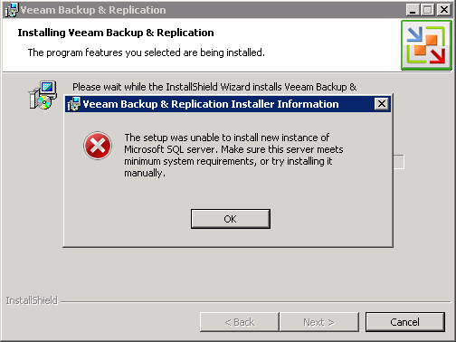 Veeam SQL Error