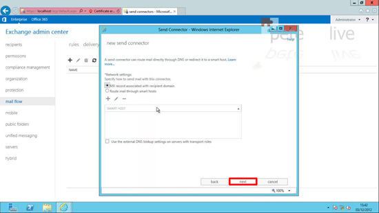 Exchange 2013 Add a  Smart Host