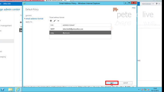 Edit Default email policy 2013