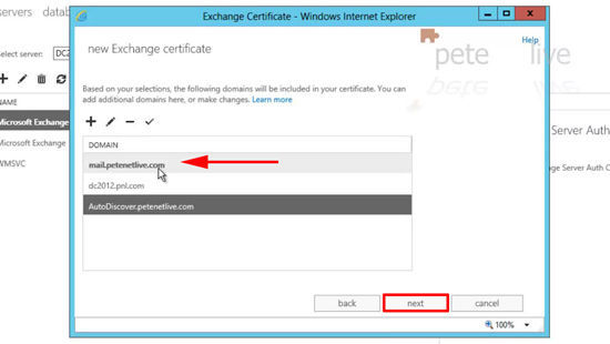 Names for Exchange 2013 Certificate