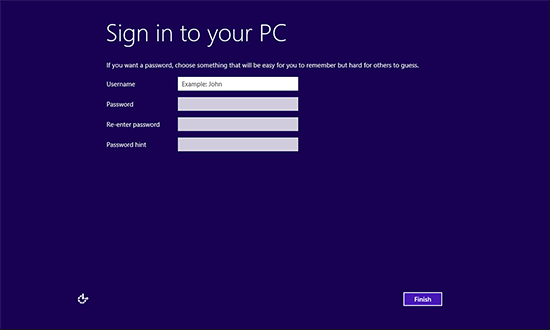 Sign in to Your PC Local Account