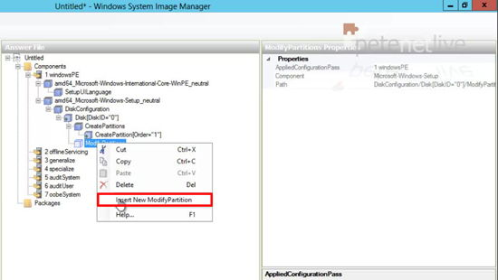 WDS 2012 Modify Partition