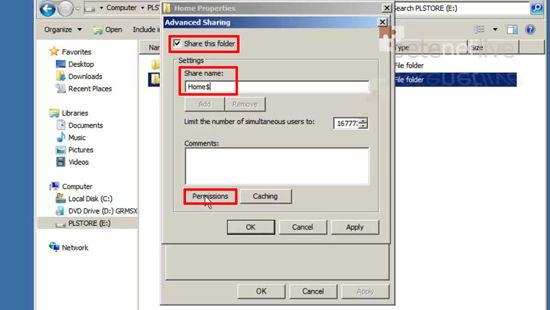 Home folder share permissions