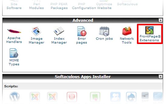 cpanel frontpage extensions