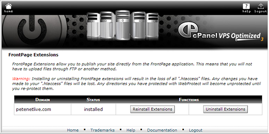 cpanel remove frontpage extensions