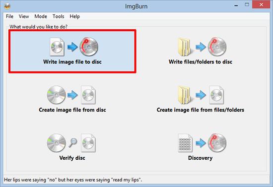 ImgBurn Burn Disk Image