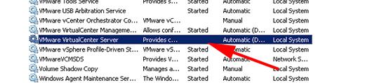 Virtual Center Server Service