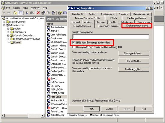 Exchange 2003 Hide From Address List