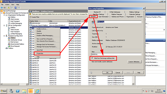 Exchange 2010 Hide From Address List