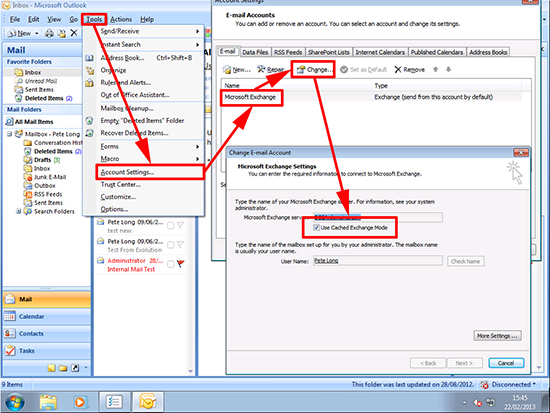 Outlook 2007 Turn Off Cached Mode