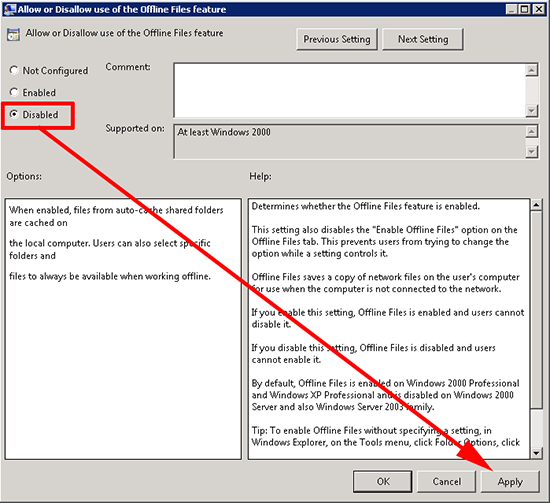 Allow or Disallow use of the Offline Files feature