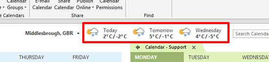 Calendar Temperature format