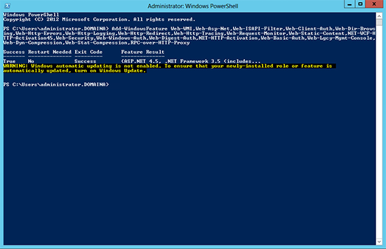 PowerShell Add Roles for Exchange 2010