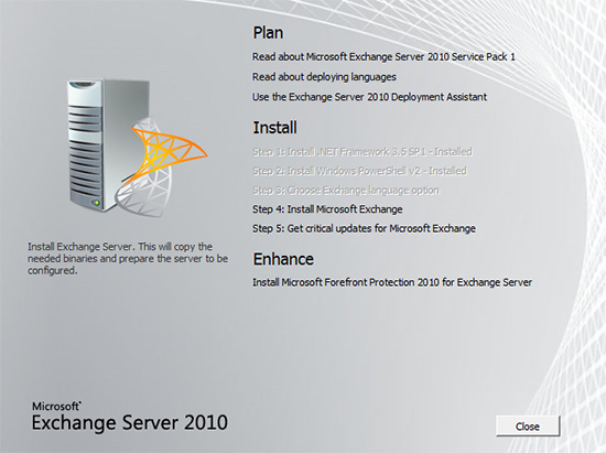 Install Exchange 2010 on 2012
