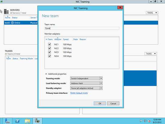 Configure Teaming 2012