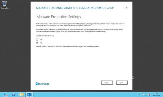 Exchange 2013 MAlware Protection Settings