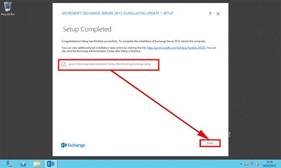 Exchange 2013 Setup Completed