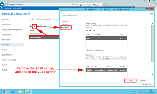 Exchange 2013 Send Connector Migration