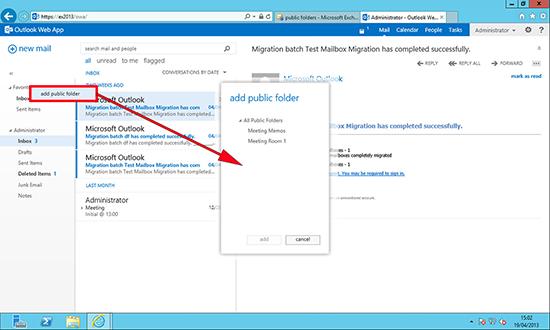 OWA 2013 Adding a Public Folder