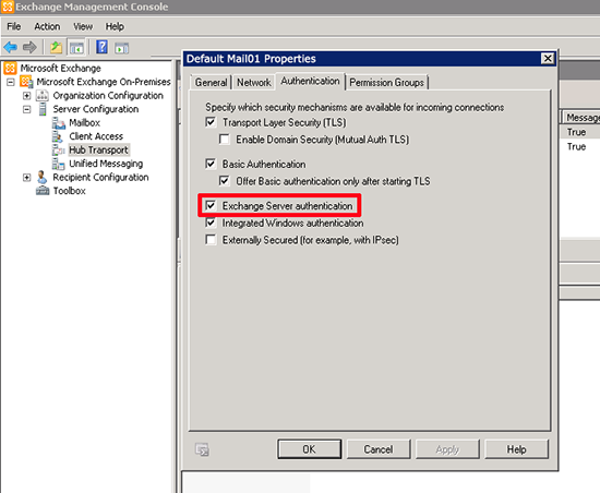 Exchange Server authentication