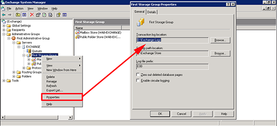 Exchange 2003 Log Location