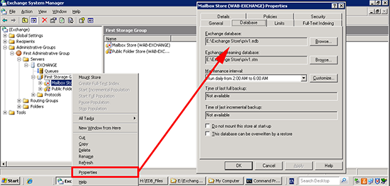 Exchange 2003 Database Location