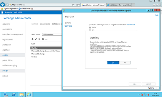 Exchange 2013 Certficate Overwrite