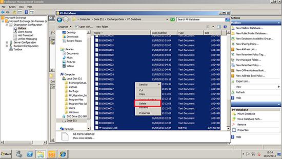 Delete edb files