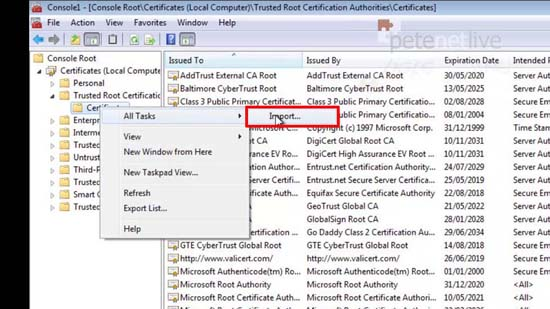 Import Root Cert