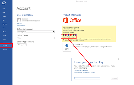 Change Office 2013 Key