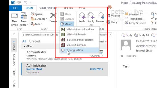 Outlook 2013 Spamfighter Toolbar