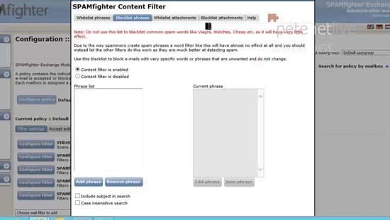 Spam blacklist phrase