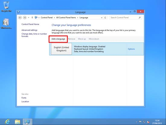 Windows 8 add Language