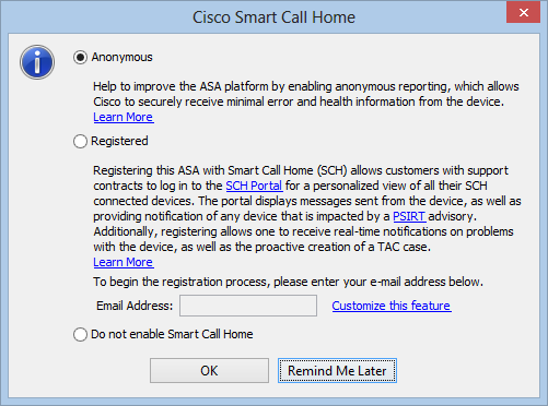 enable call-home in asdm