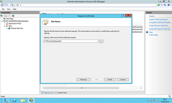 Windows Server 2012 create Certtificate Request