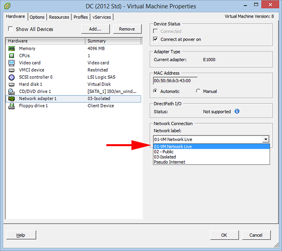Locate VMware Network Name