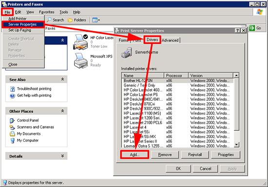 Server 2003 Adding Print Drivers