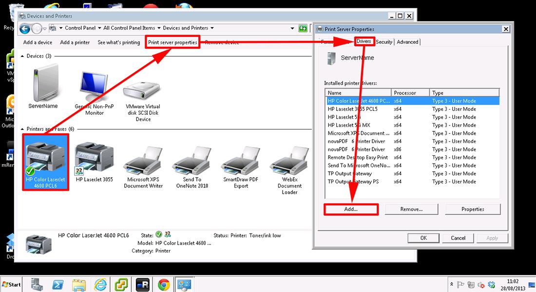 Добавление драйвера принтера в windows 2008