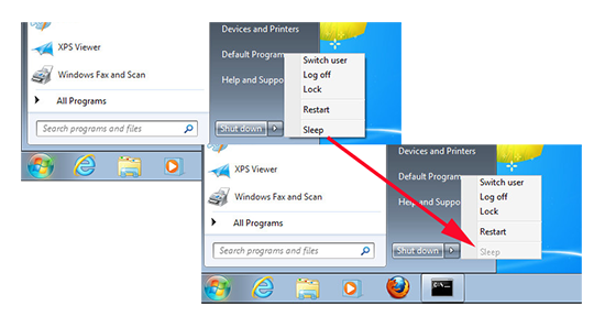 Remove Sleep from Windows 7