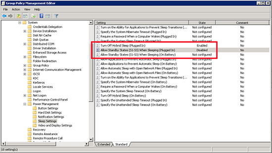 Group Policy Remove Sleep