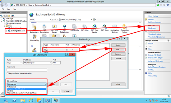 IIs Exchange Back End Bindings