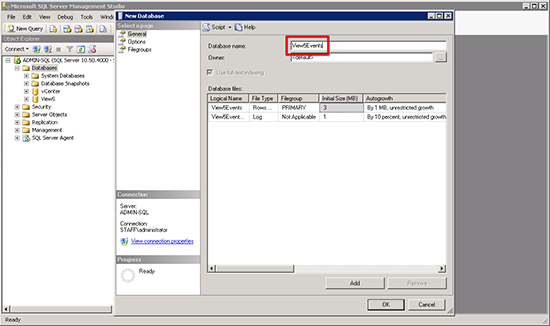 Configure View Events Database Name