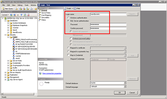 Configure View Events Database New User