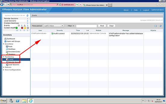 Configure View Events Database New Database Monitor