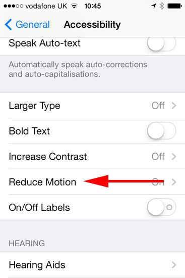 IOS 7 Reduce Motion