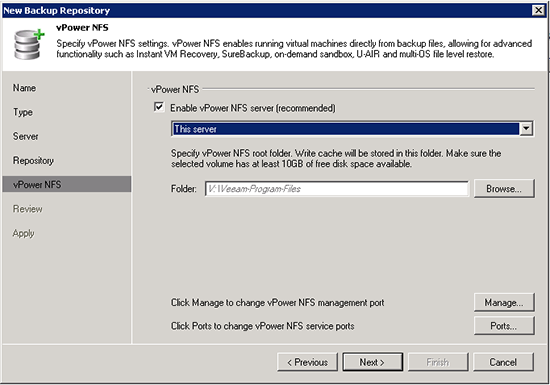 Veeam NFS vPower