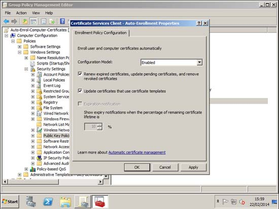 Autoenrollment group policy