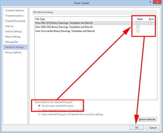 Visio File Block Settings